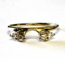 14k yellow gold .16ct VS G diamond ring jacket wrap 2.1g vintage wedding band