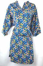 Fossil Mushroom Print Blue Sexy Work Shirt Dress Vintage Style Unique M 10 12