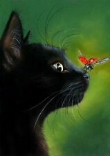 BLACK CAT WITH LADY BUG Image + Free swap card  A4 Poster Gloss Print Laminated