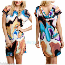 NWT 12 $169 MUSE Draped Back Graphic Watercolor Jersey Knit Shift Day Dress