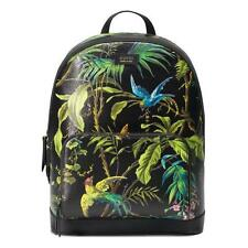 NEW GUCCI LARGE BLACK TEXTURED LEATHER TROPICAL INFUSED BACKPACK BAG