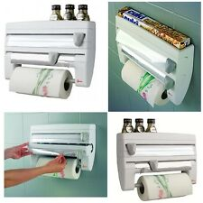 NEW 4-in-1 Kitchen Roll Holder Dispenser Storage Unit Tin Foil Cling Film Spices