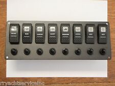 ROCKER SWITCH PANEL 8 SWITCHES 8 BREAKERS PSBC81BK CARLING CONTURA BOAT PARTS