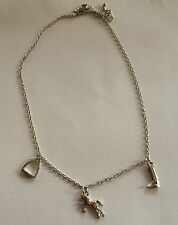 Silver Coloured Horse,Boot & Stirrup Charm Necklace 16""