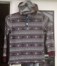 NEXT BOYS MULTI COLOURED PATTERNED HOODED LONG SLEEVED TOP - AGED 9 YRS