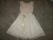 TAHARI ASL LACE DRESS SIZE 10 BLUSH PINK SLEEVELESS GLITTER BELTED