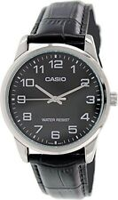 Casio Men's Analog Quartz Stainless Steel Black Leather Watch MTPV001L-1B