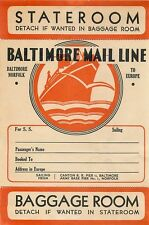 BALTIMORE MAIL LINE TO EUROPE VINTAGE STEAMSHIP LUGGAGE LABEL