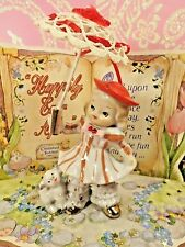 Vtg Bloomer Shopper Girl W RED Umbrella & Puppy Dog By PICO JAPAN Re-Purposed