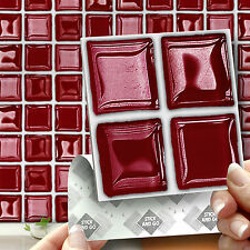 18 Stick & Go Red 'Glass' Stick On Wall Tiles for Kitchens & Bathroom