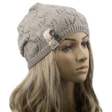 Women Ladies Hats Winter Warm Knitting Hat Baggy Beanies Leaves Hollow Out Hats
