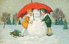 vintage art  Children with Snowman Christmas time