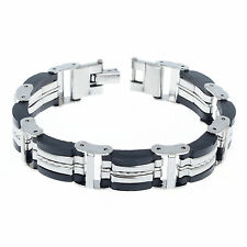 Men's Stainless Steel Rubber Link Chain Bracelet Bangle Whoesale Fashion Jewelry