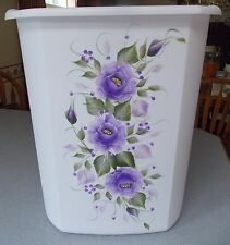 HAND PAINTED ROSES/SHABBY TO CHIC/WASTE PAPER BASKET/PURPLE