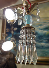 1of7 Vintage cut crystal Blue Brass hanging lamp chandelier Icicle  glass prisms