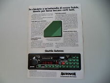 advertising Pubblicità 1982 AUTORADIO AUTOVOX SHUTTLE