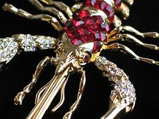 HUGE RED MARDI GRAS CRUSTACEAN CRAWFISH CRAYFISH SHRIMP LOBSTER PIN BROOCH 6""