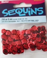 Darice Economy Craft ~ CUP SEQUINS ~ Size: 8mm Color: RED  Qty in Pack: 200