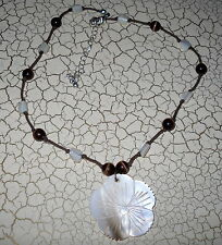 Carved Flower Shell Fashion Necklace Brown Cream Womens Seashell