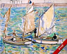 ST MALO SAIL BOATS PRENDERGAST OIL PAINTING ART REAL CANVAS GICLEE PRINT