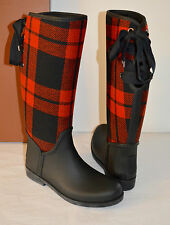 new $168 Coach Tristee Matte Black Rubber Rain Boot Red Plaid Wool sz 9 Womens