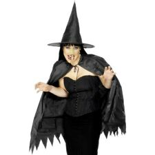 Woman's Girls Black Instant Witches Kit Hat Cape Nose Halloween Fancy Dress Fun