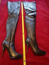 AROLLO New LEATHER sexy PERFORATED thigh high boots 39 / 8.5 black, metal heel