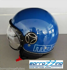 NUOVO CASCO MOMO DESIGN FIGHTER GLAM BLU  DEC.OUTLINE BIANCA TG. XL