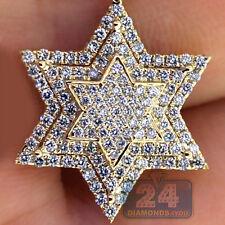 Mens Womens Diamond Star of David Religious Pendant 10K Yellow Gold 0.68 ct