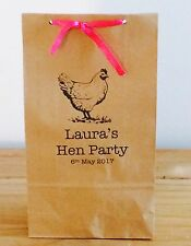 Personalised Paper Hen Favour Bags/ Wedding/Hen/Gift/Party & Ribbon