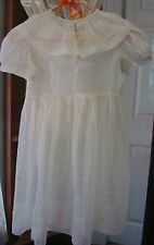 Vintage 1930s Miss Quality Girls Frock White Sheer Organza Dress Portrait Collar