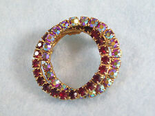 Vintge Ruby Red AB Rhinestones Brooch Pin Double Entwined Circle Aurora Borealis
