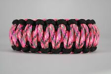 550 Paracord Survival Bracelet King Cobra Black/Pink/Pink Camo Camping Tactical