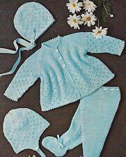 """Baby Pram Set Coat Leggings Bonnet Helmet Knitting Pattern DK 18-20"""" 749"""