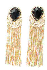 Long Black and Gold Chain Earrings Art Deco 1920s Great Gatsby Vintage Drop 183