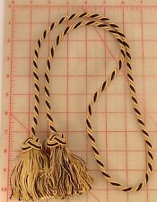 "Black and golden beige curtain tie back tassels 45"" key braided 3.25"" tassels"