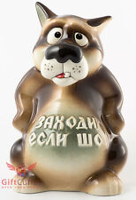 Russian Folk Lore Cartoon porcelain Wolf penny box Piggy bank Gzhel figurine