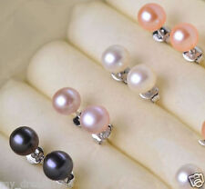Wholesale 4 Pairs 8-9mm Mix Pearl Jewelry 925 Sterling Silver Stud Earrings