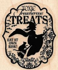 WITCH BROOM CAT TOXIC TREATS Halloween Frame words STAMPIN' UP! RUBBER STAMP