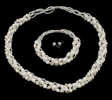 Elegant Natural Freshwater Pearl jewellery Set Necklace, Bracelet & Earrings
