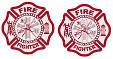 Fire Fighter Reflective Maltese Cross Decal Sticker Lot of 2