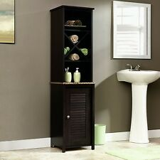 Bathroom Storage Cabinet New Linen Stand Shelves Tall Bath Home Decor Furniture