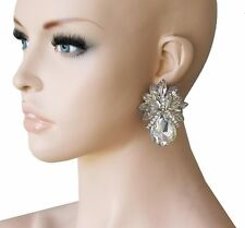 "2"" Drop Clear Acrylic Rhinestones, Clip On earrings, Pageant,Drag Queen,Bridal"