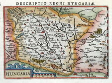 HUNGARY, HUNGARIA, BERTIUS. original miniature hand coloured antique map 1606