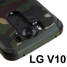 For LG V10 (H901) - HARD RUBBER HYBRID IMPACT ARMOR CASE COVER CAMO GREEN ARMY