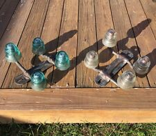 Vintage Cast Iron Telephone Pole Topper w/ 4 Glass Insulators, EXC COND!
