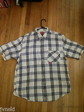 Guess Blue Plaid Button Down Short Sleeve Shirt Size Large Excellent Used