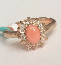 Gold Plated Peach Coral Cocktail Ring Dainty Vintage Style Cubic Zirconia Size 9