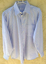"~BRIONI MENS sz L ""BLUE & LIGHT BLUE STRIPED"" ITALIAN SHIRT~ 50"" CHEST"