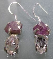 Sterling silver rough amethyst & Herkimer diamond quartz earrings.